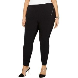 INC Black Mid-Rise Ponte Stretch Skinny Leg Pants